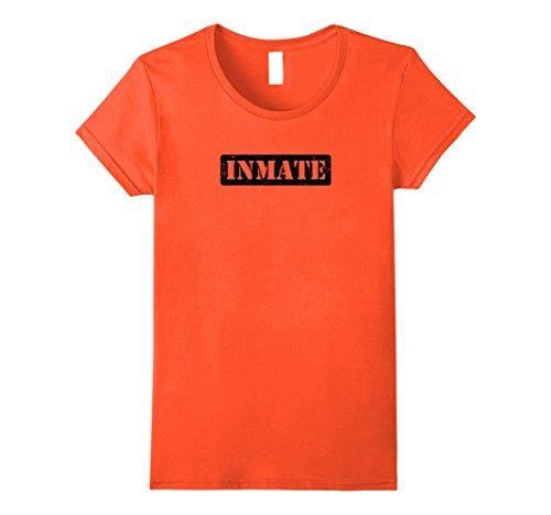 County Jail Inmate Costume (Womens County Jail Inmate Prisoner Costume T-Shirt Medium Orange)