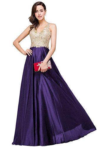 Homecoming 32 Ärmellos Dress Lang MisShow Gr Satin V Ausschnitt Damen Abendkleid Abschlusskleid 46 Ballkleider Violett Rückfrei pFC8q
