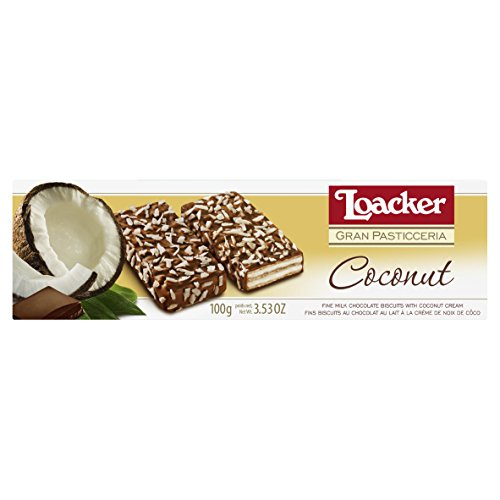 Wafer Cookies Coconut - Loacker Coconut and Chocolate Covered Wafers