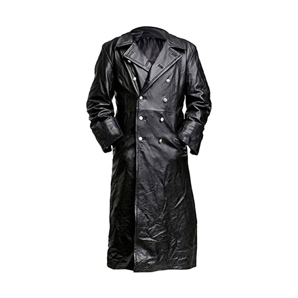 Military German Classic Uniform Jacket Black Genuine Cowhide Trench Leather Coat