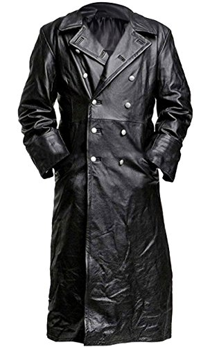 German Classic Military Officer Black Leather Trench Coat