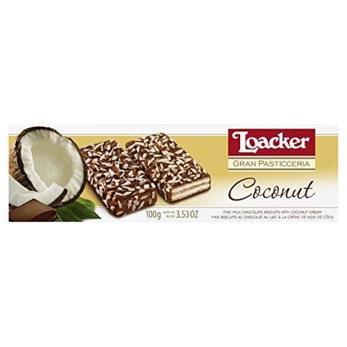 Wafer com Recheio de Creme de Coco e Cobertura de Chocolate ao Leite e Coco Ralado Gran Pasticceria Caixa Loacker 100g