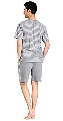 549bf7c553c Suntasty Men Summer Sleepwear Striped Short Sleeve Pajama Shorts and Top Set (Grey
