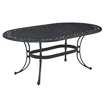 home style biscayne oval outdoor dining table black finish