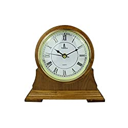 Mantel Clock, Silent Decorative Wood Desk Clock, Battery Operated, Wooden Design, for Living Room, Office, Kitchen, Shelf & Home Décor Gift - 9 x 8.5 (M102 - Mantle Clock)