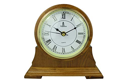 Mantel Clock, Silent Decorative Wood Mantle Clock Battery Operated, Wooden Design for Living Room, Fireplace, Office, Kitchen, Desk, Shelf & Home Décor Gift - 9 x 8.5 Inch (Mantle Best Wood For)