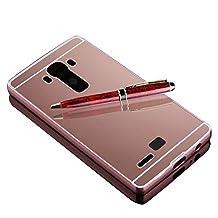 LG G3 Case ,Sunroyal (TM) New Luxury Aluminum Ultra-thin Hybrid Glitter Bling Mirror Metal Case Cover,Rose Gold