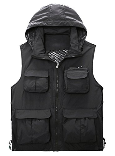Liangpin Men's Multi-Pocket Fishing Hunting Vest with Hood Quick Dry Lightweight