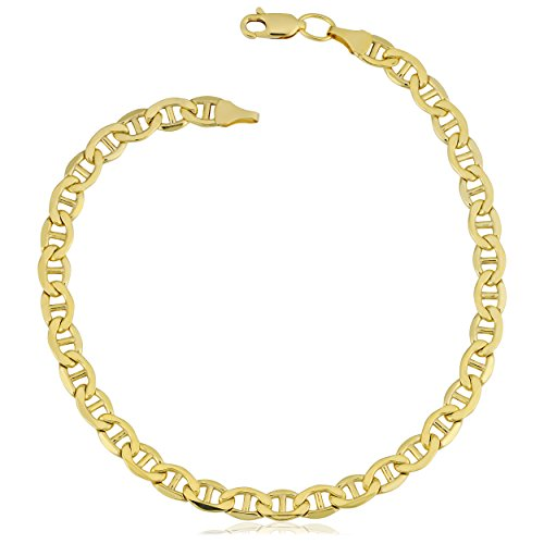 Kooljewelry 14k Yellow Gold Filled Mariner Link Chain Bracelet (5 mm, 8.5 inch)