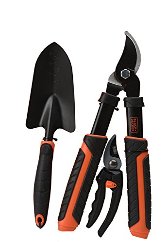 BLACK+DECKER BD2863 3-Piece Garden Tool Combo, Black/Orange