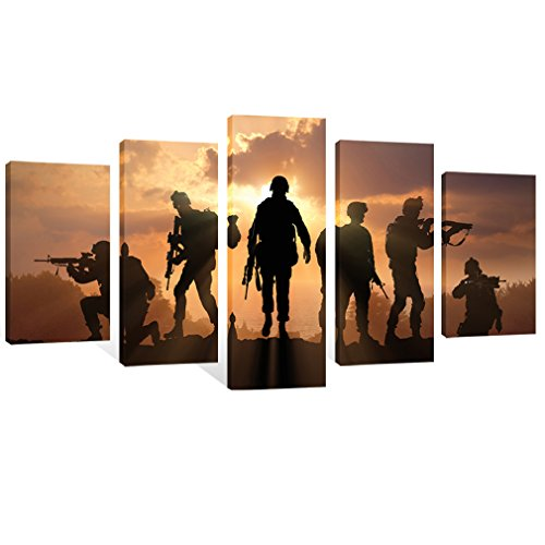 (Modern Canvas Painting American Soldiers Picture Printing On Canvas Stretched and Framed Giclee Artwork Wall Art For Home Decor Ready to Hang (American Soldiers Style 1))