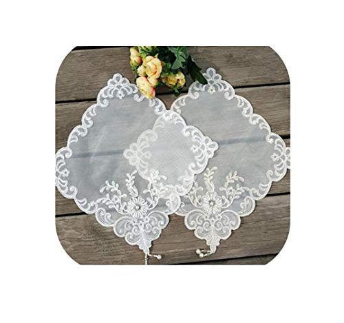 - dream-higher Modern Sequin Lace Embroidery placemat Cup Coaster Mug Kitchen Dish Dining Table Place mat Cloth Tea Coffee Doily Wedding pad,White,Square 28X28CM