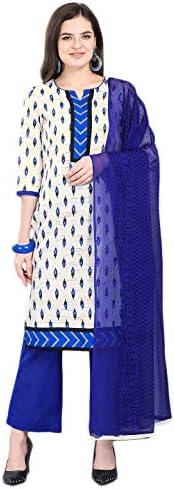 Jevi Prints Women's Pure Cotton Block Print Dress Material with Chiffon Dupatta (Aarambh-390004_Beige & Blue_Free Size)