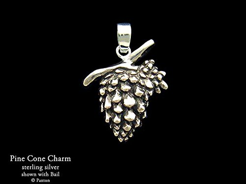 (Pine Cone Charm Pine Cone Necklace in Solid Sterling Silver Hand Carved & Cast by Paxton)