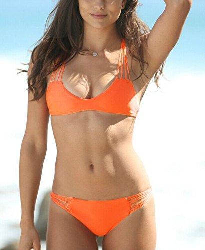 XLHGG Multi-correa de la cuerda del bikini adornado Beach traje de baño de las mujeres Blue