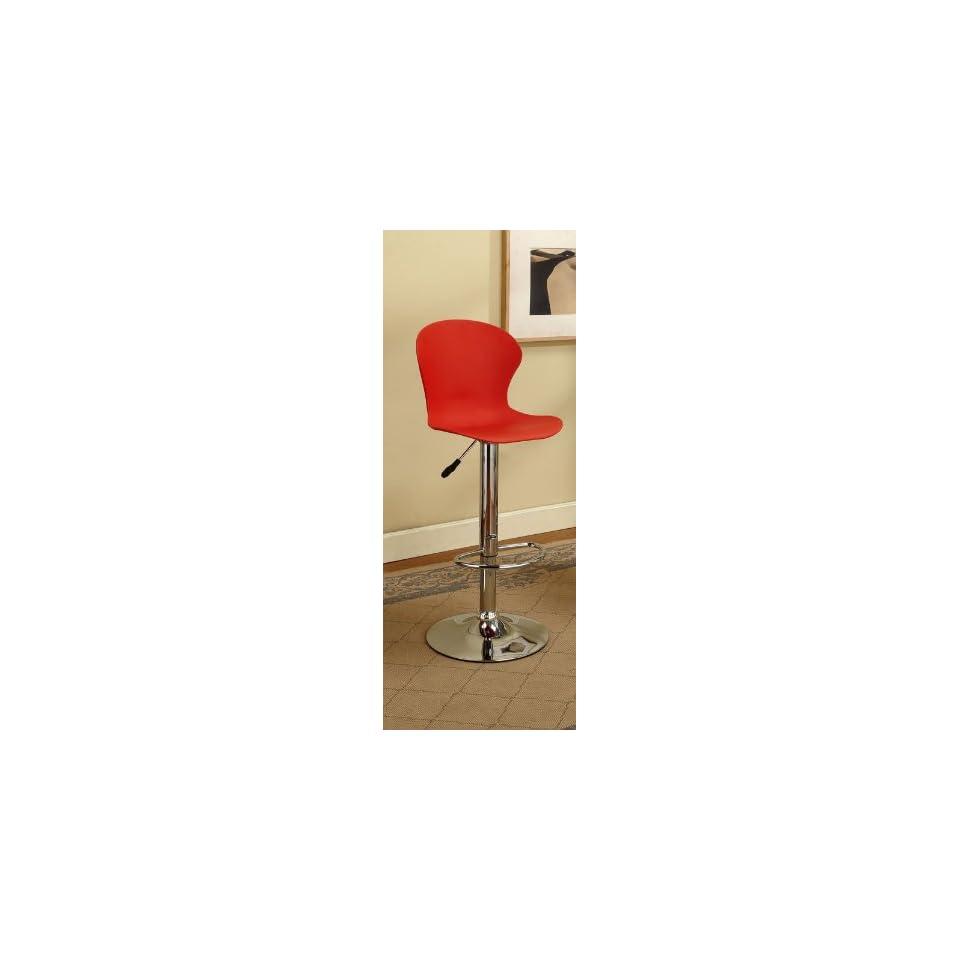 Kings Brand Red & Chrome Finish Air Lift Adjustable Modern Bar Stool