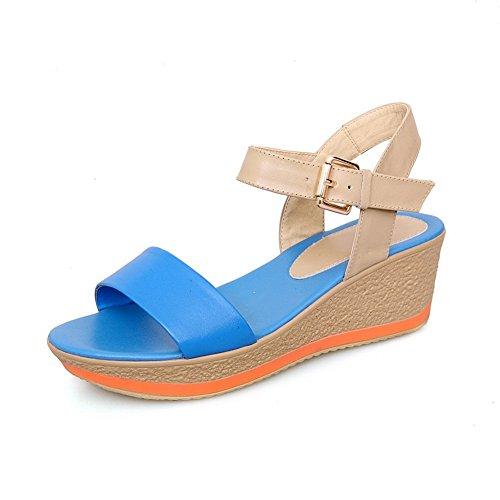 BalaMasa Ladies Wedges Buckle Soft Material Sandals Blue w1v1n