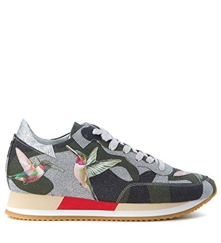 Sneaker Philippe Model Paradis en tejido verde estampa colibrí Verde