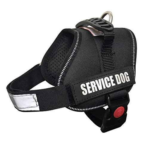 ALBCORP Service Dog Vest Harness - Reflective - Woven Polyester & Nylon, Comfy Mesh Padding, XXS, Black