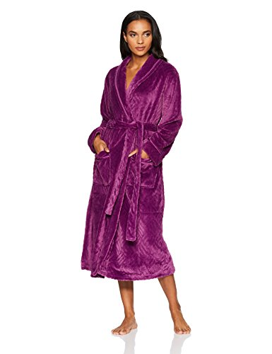 Aria Women's Solid Textured Plush Chenille Wrap Robe, Plum, S/M ()