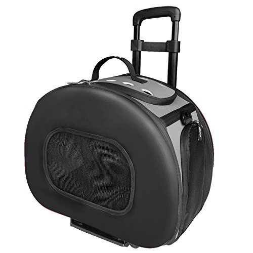 PET LIFE 'Final Destination' Airline Approved 2-in-1 Tough-Shell Wheeled Collapsible Travel Fashion Pet Dog Carrier Crate, One Size, Black