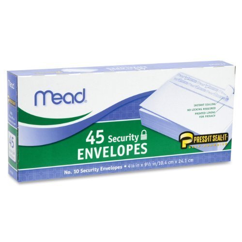 Mead Press-it Seal-it No.10 Security Envelopes, 4.125 x 9.5-Inches, White, 45 Count, Pack of 2 (90 Count In Total)( 75026)