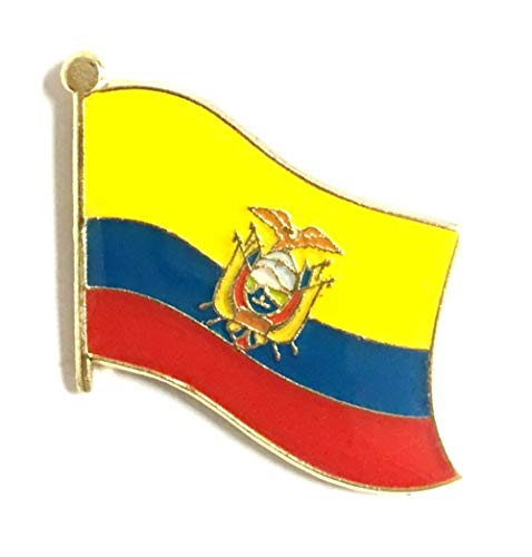 International Single, Double and Friendship Flag Lapel Pins, Enamel Tie & Hat Pin Badges for Over 100 Countries (Ecuador, 3 Flag Lapel Pins)