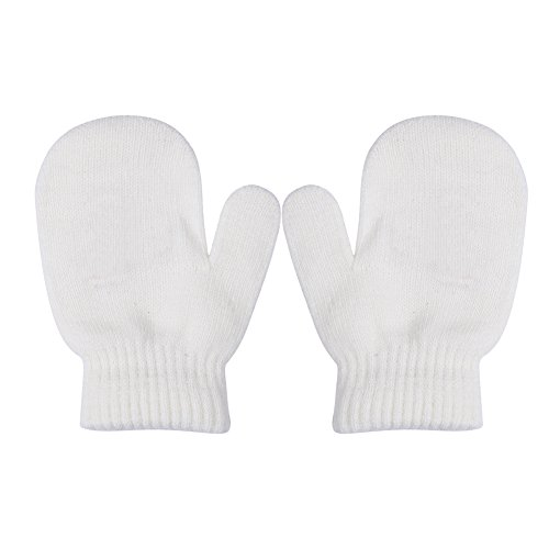 Toddler Unisex Baby Girl Boy Solid Color Warm Knit Gloves Magic Stretch Mittens Winter (1-4 Years, White) (Magic 1 Gloves)