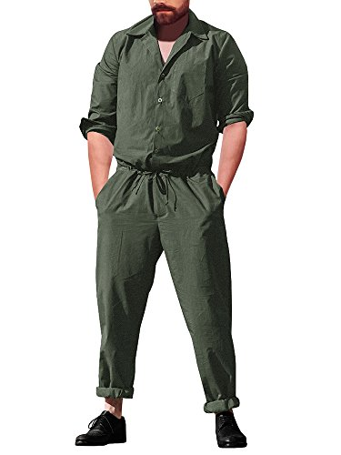 Runcati Mens Jumpsuit Romper Pants Long Sleeve Drawstring Casual Plain One Piece Coverall with Pockets - Jumpsuit Coverall