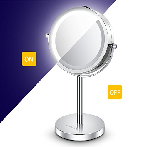 Lighted Makeup Mirror - 6'' LED Vanity Mirror 7x Magnification Double Sided Mirror Cosmetic Table Mirror Polished Chrome ALHAKIN by AlHAKIN (Image #1)