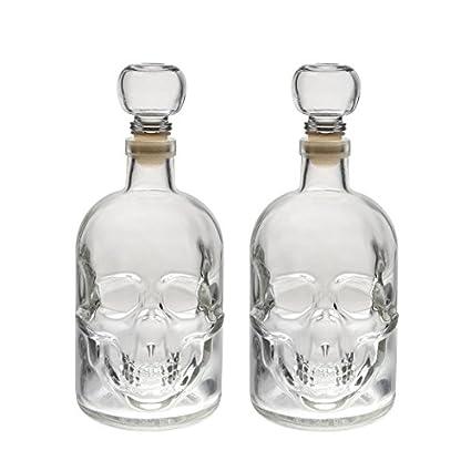 slkfactory 2 Botellas Vacías 500 ML de Cristal Botella Calavera Fabricado en Alemania Calavera Pirata Cráneo