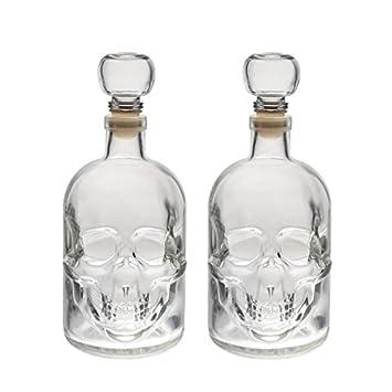 2 bouteilles en verre vides 500 ml Tête de Mort Bouchon Pirates à ...