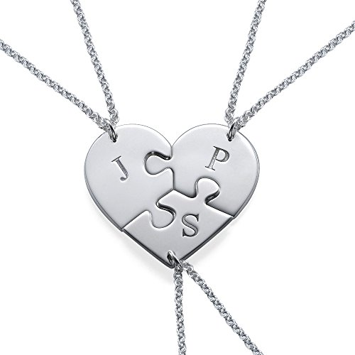 (Puzzle Piece Necklace for Three with Initial in Sterling Silver - Custom Made)