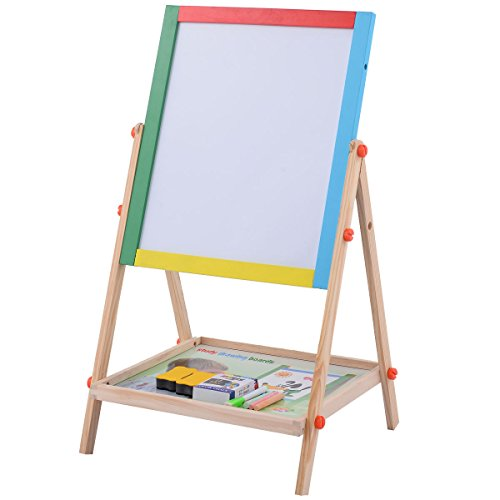Prosperly U S Product Adjustable 2 In 1 Wooden Easel Chalk Drawing Board Black   White Children Kids