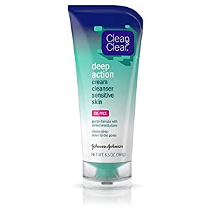 Clean & Clear Deep Action Cream Facial Cleanser Sensitive Skin, 6.5 Oz. (Pack of 4)