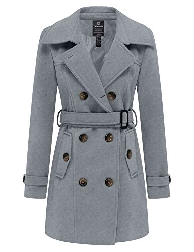 Wantdo Womens Winter Double Breasted Pea Coat with Belt