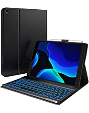 iPad 8th Generation Case with Keyboard & Pencil Holder, iPad 10.2 2020 & Air 3 10.5 Compatible - 7 Color Backlit Keyboard - Slim Leather Folio Smart Cover for iPad 8, 2019 iPad 7 & Air 3rd Gen Black