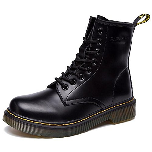 JACKSHIBO Women's Fashion Leather Ankle Bootie Winter Combat Boots