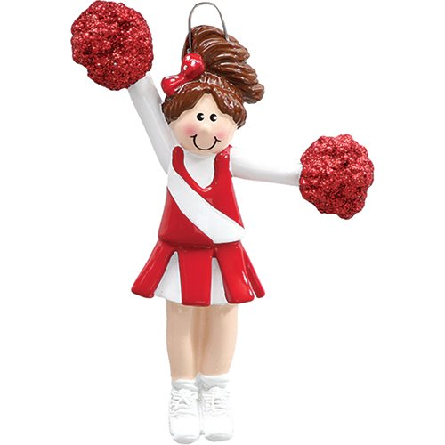 Personalized Christmas Ornaments 2017 Pom Pom Girl Red Skirt Cheerleaders Dancers Football High School Sports Active Holiday Tree Ornament Team Gift Hobby Brown Hair -