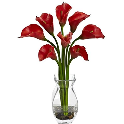 - Nearly Natural 1296-RD Classic Calla Lily Arrangement - Red