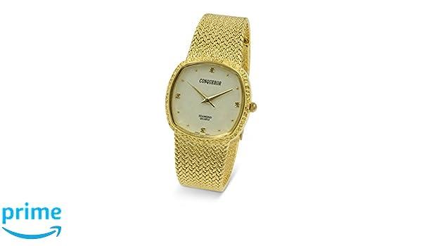 Amazon.com: Conqueror Gold-Tone Watch with Mesh Bracelet and Diamond Unisex Quartz Dress Square: Watches