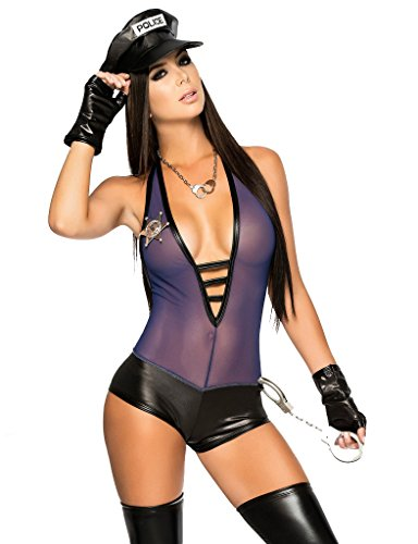PINSE Sexy PVC Police Officer Cop Uniform Costumes