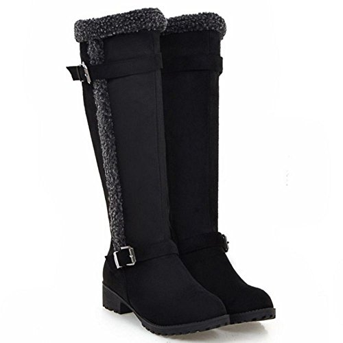 COOLCEPT Women's Fashion Block Low Heel Western Long Boots Black crNxNhA
