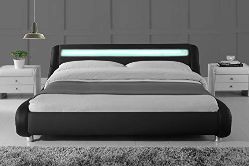 SHA CERLIN Wave-Like Curve Deluxe Upholstered Modern Bed Frame with LED Headboard/Mattress Foundation/No Box Spring…