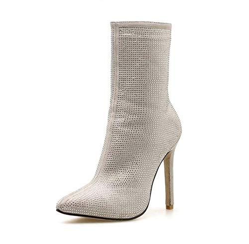 Vestido Rhinestone Bling Tobillo Corto 35 Tamaño Corte Beige Aguja Puntas Punta 5 Ue Botines Mujeres Botas 42 Casual Zapatos 11 Cm De Bpx7pdO