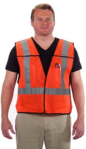 Viewbrite 5 Point Breakaway Reflective Class 2 Safety Vest Neon Orange w/ 2 inch Reflective Strips - High Visibility Orange Safety Vest (Large-3XL)]()