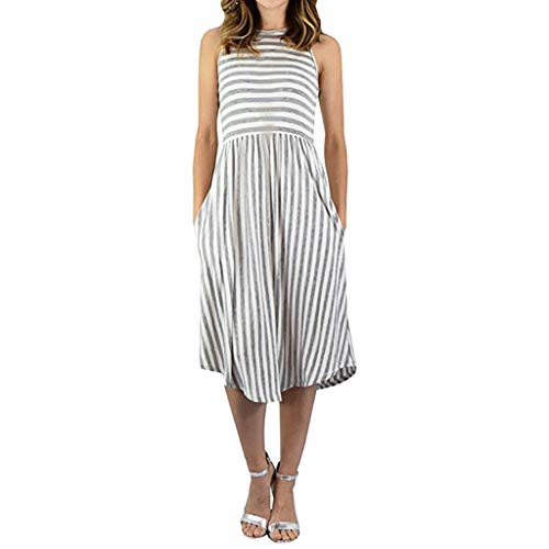 DFHYAR Women's Casual Cute Elegant Boatneck Sleeveless Striped Dress with Pockets Gray