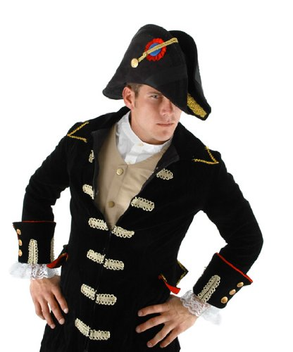 Adult Admiral Black Bicorn Hat with Red and Gold Trim by Elope