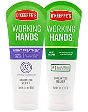O'Keeffe's Working Hands Hand Cream, 3 Oz Tube and Night Treatment Hand Cream, White, 103002