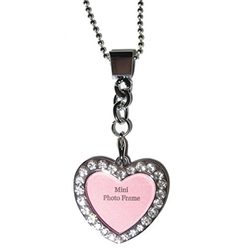 Heart Custom Photo Picture Frame Crystal Silver Plated Pendant 24
